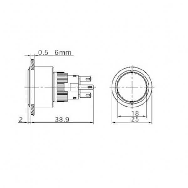 16-22 mm Kırmızı Kalıcı Anahtar 1NO/1NC