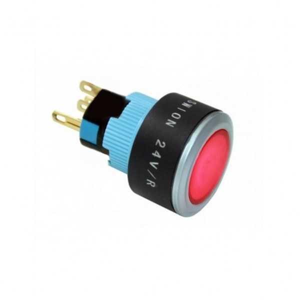 16-22mm 24V Kırmızı LED Kalıcı Anahtar 1NO/1NC