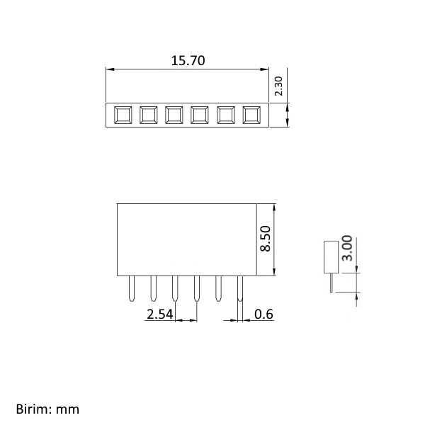 Header - 1x6 Pin Dişi Header - Mavi