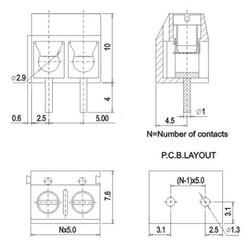 2-pin 5mm Terminal Konnektör - Thumbnail