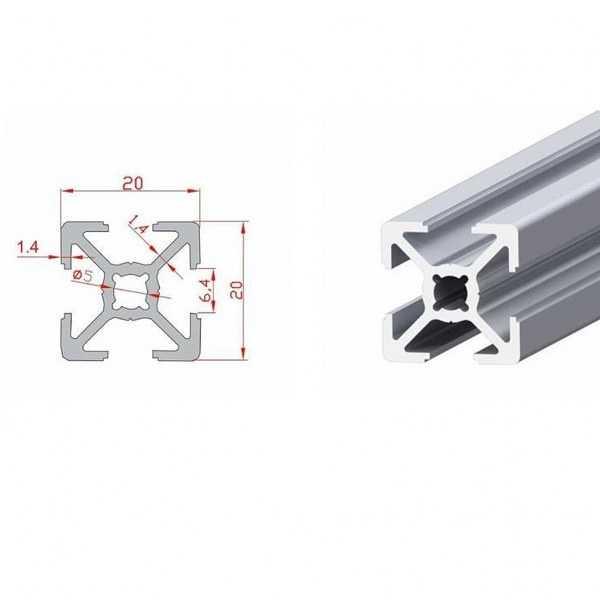 20x20 Sigma Profil-Kanal 6 - 370mm