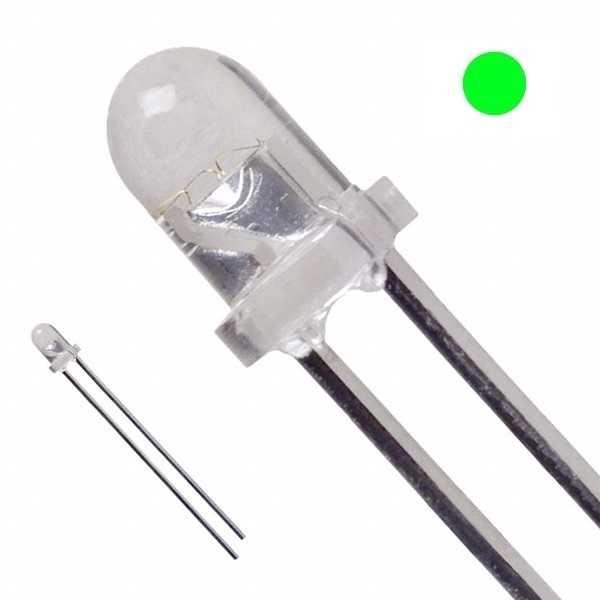 3mm Şeffaf Yeşil Led - 10 Adet