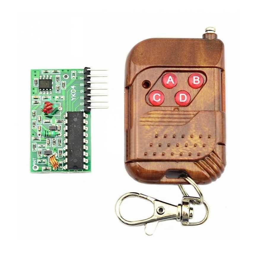 RF Modüller - 4 Kanal 315 Mhz RF Kablosuz Kontrol Modülü - Kumandalı/Alıcılı