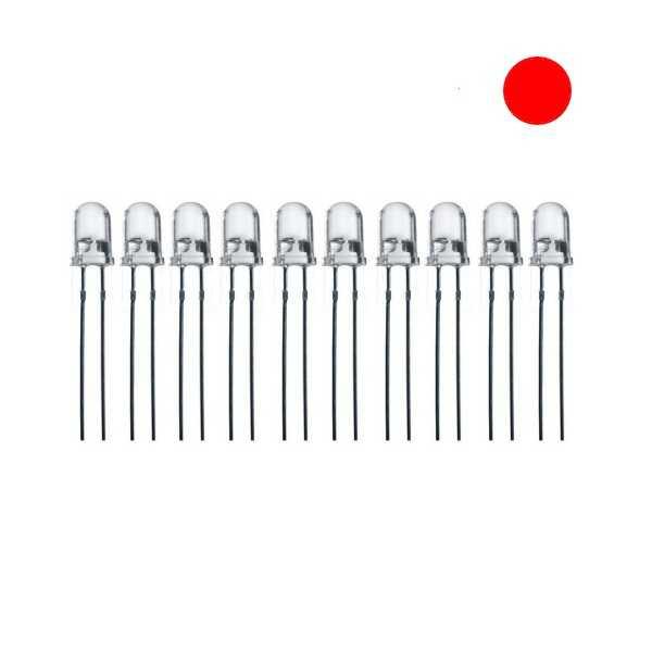 5mm Şeffaf Kırmızı Led - 10 Adet