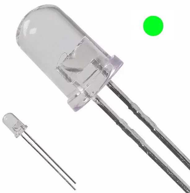 5mm Şeffaf Yeşil Led - 10 Adet