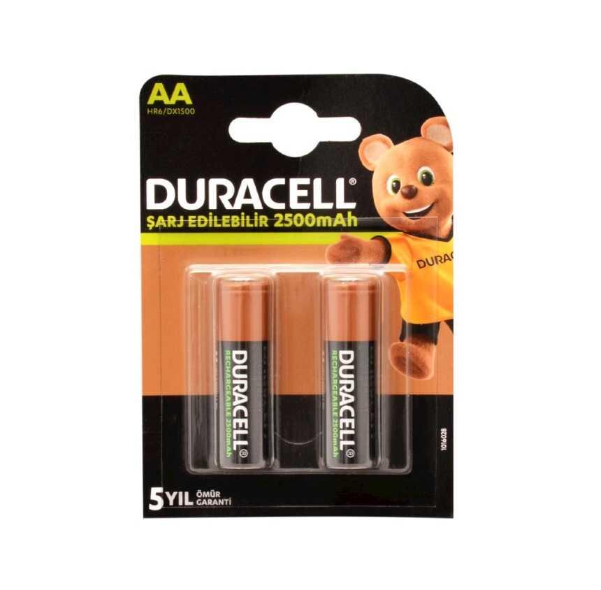 Duracell 1.2V 2500 mAh AA Şarjlı Kalem Pil 2'li