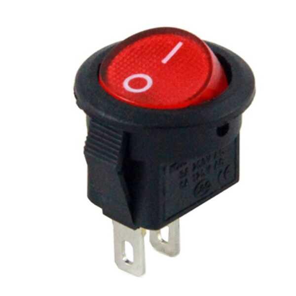 IC-134E Mini Yuvarlak Anahtar Kırmızı Işıksız ON-OFF 2P