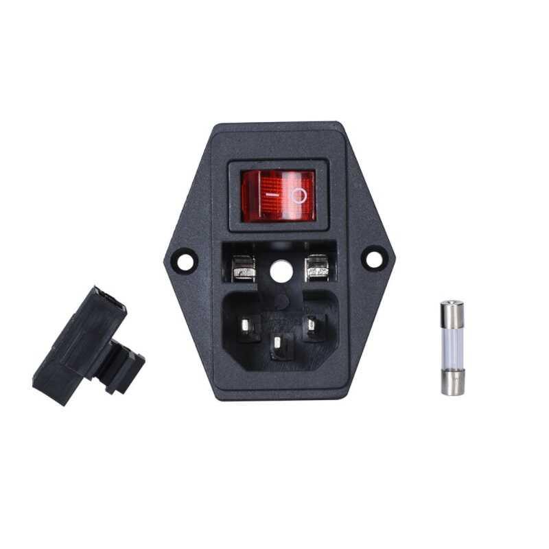 Kulaklı Power Soketi-Erkek-Işıklı Anahtarlı-Sigortalı