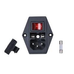 Kulaklı Power Soketi-Erkek-Işıklı Anahtarlı-Sigortalı - Thumbnail