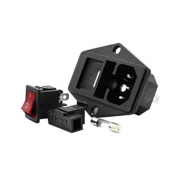 Power Soket - Kulaklı Power Soketi-Erkek-Işıklı Anahtarlı