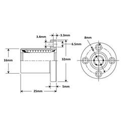 LMEF8UU Lineer Rulman - Thumbnail