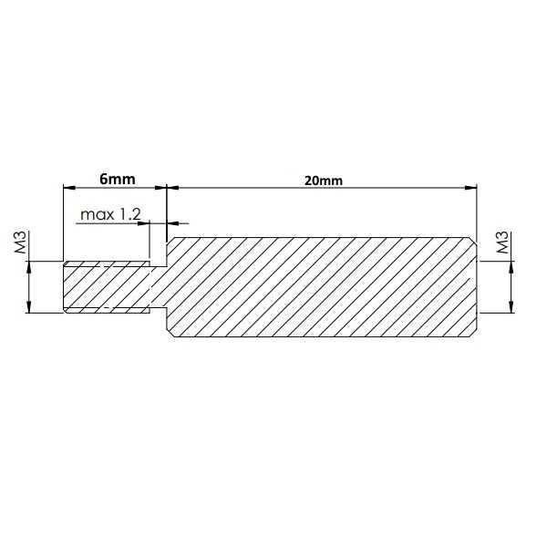 Dişi - Erkek - M3 20mm Metal Dişi-Erkek Aralayıcı - (Standoff)