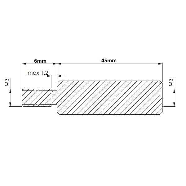 Dişi - Erkek - M3 45mm Metal Dişi-Erkek Aralayıcı - (Standoff)