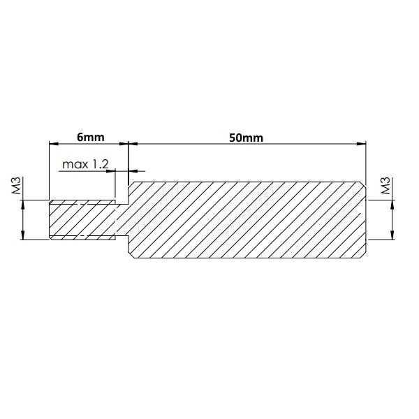 Dişi - Erkek - M3 50mm Metal Dişi-Erkek Aralayıcı - (Standoff)