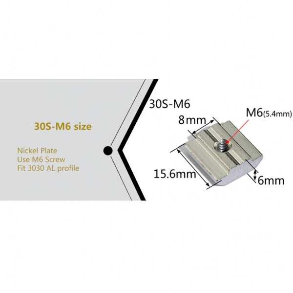 Sigma Profil Bağlantı Aksesuarları - M6/30 T Kanal Somun