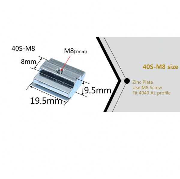Sigma Profil Bağlantı Aksesuarları - M8/40 T Kanal Somun