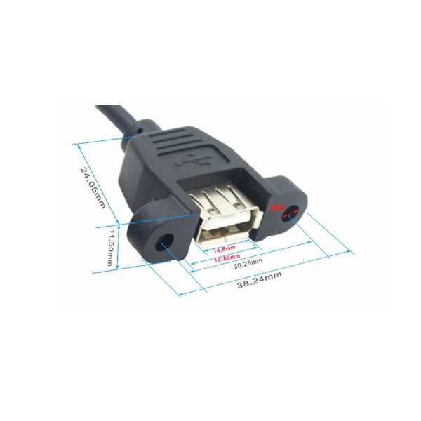 Panel Montajlı USB A Uzatma Kablosu - 1.5m