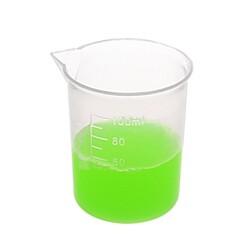 Laboratuvar Malzemeleri - Plastik Beher 100ml - Kısa Form - Kabartma Skala