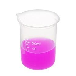 Laboratuvar Malzemeleri - Plastik Beher 50ml - Kısa Form - Kabartma Skala