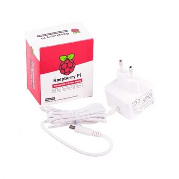 Raspberry Pi 4 Lisanslı Güç Adaptörü-5V/3A-Type C-Beyaz