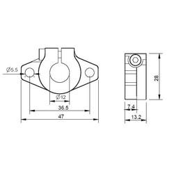 SHF12 Aluminyum Mil Tutucu - 12mm - Thumbnail