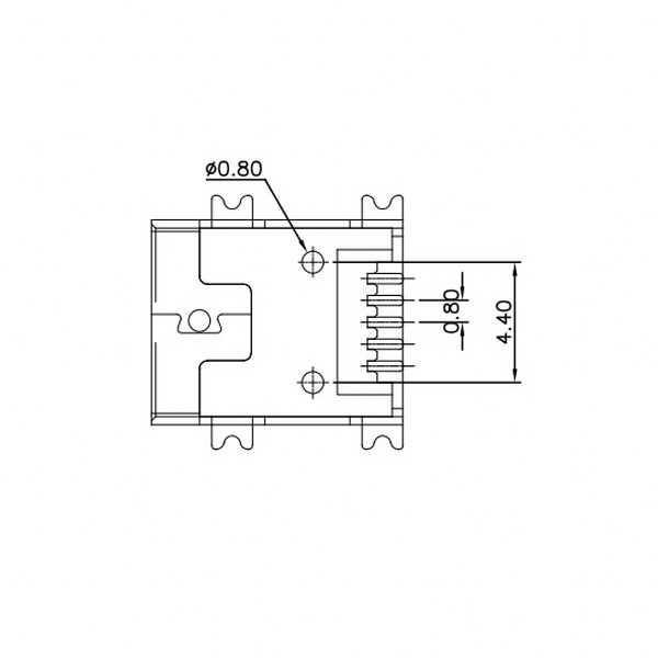 USB Mini B 5 Pin R/A Smd